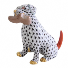Herend Porcelain Fishnet Figurine of a Dog - Bella
